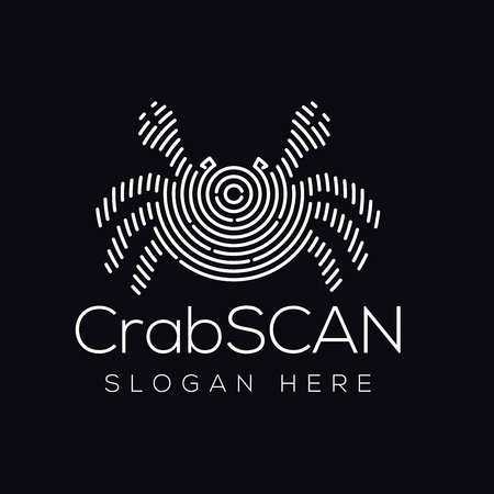 Crab Scan Technology Logo vector Element. Animal Technology Logo Template Stock Illustratie