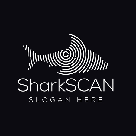 Shark Fish Scan Technology Logo vector Element. Animal Technology Logo Template