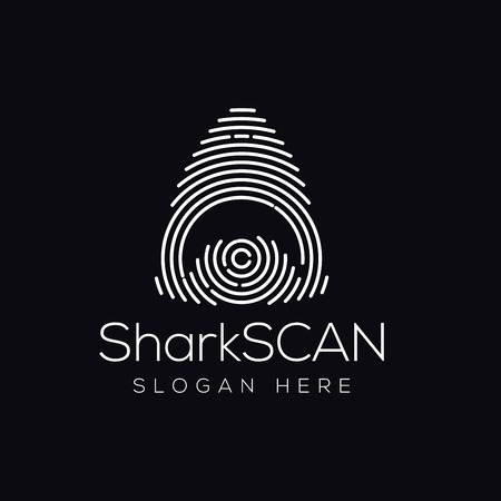 Shark Fish Scan Technology Logo vector Element. Animal Technology Logo Template