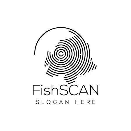 Fish Scan Technology Logo vector Element. Animal Technology Logo Template