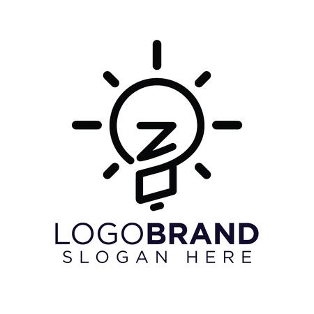 ZO Initial Letter with creative bulb Logo vector Ilustração