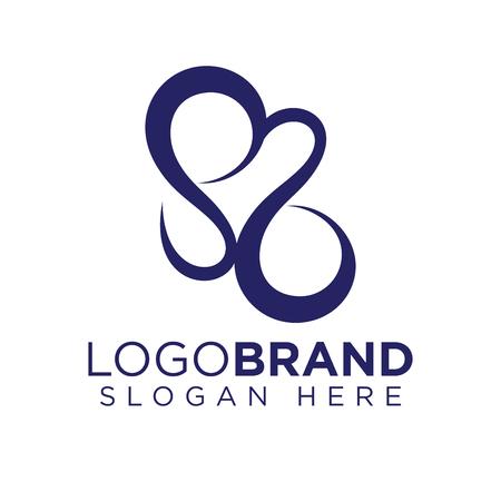 S Love Logo Line Vector