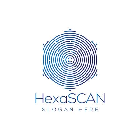 Hexagonal Scan Technology Logo vector
