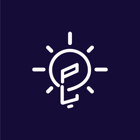 PL Initial Letter with creative bulb Logo vector Ilustração