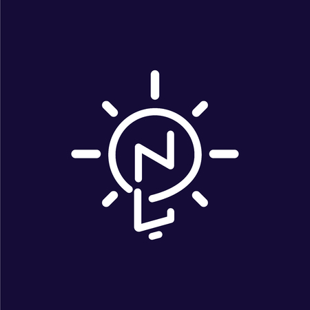 NL Initial Letter with creative bulb Logo vector