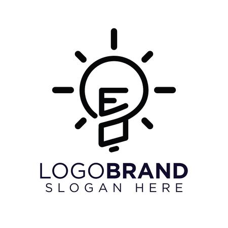 EO Initial Letter with creative bulb Logo vector Ilustração
