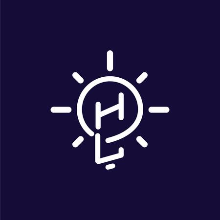 HL Initial Letter with creative bulb Logo vector Illusztráció
