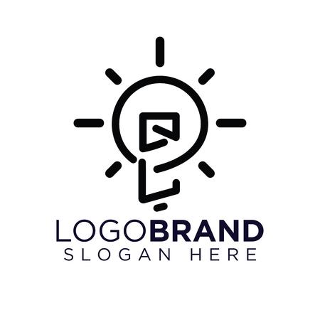QL Initial Letter with creative bulb Logo vector Illusztráció