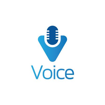 Letter V Voice Logo Vector Template Ilustração