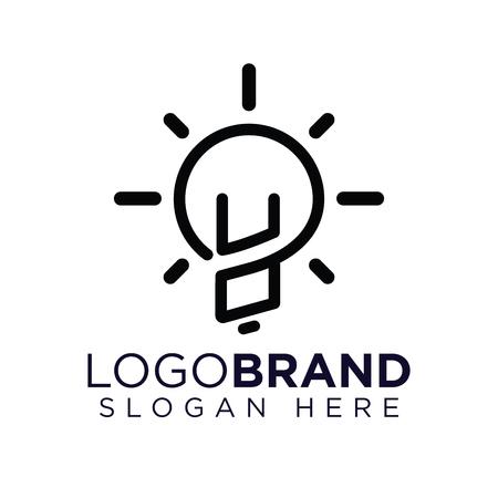 UO Initial Letter with creative bulb Logo vector Ilustração