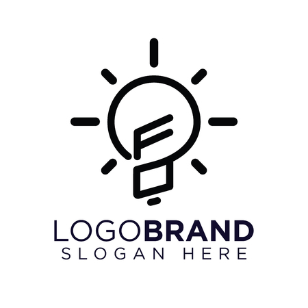 FO Initial Letter with creative bulb Logo vector Ilustração