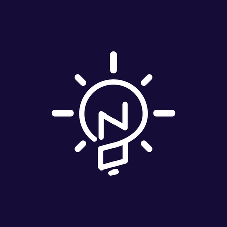 NO Initial Letter with creative bulb Logo vector