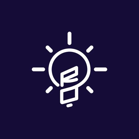 RO Initial Letter with creative bulb Logo vector Ilustração