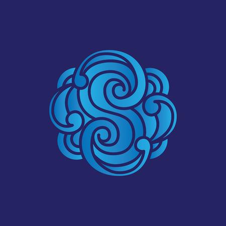 S Letter Carve Floral logo vector Ilustração