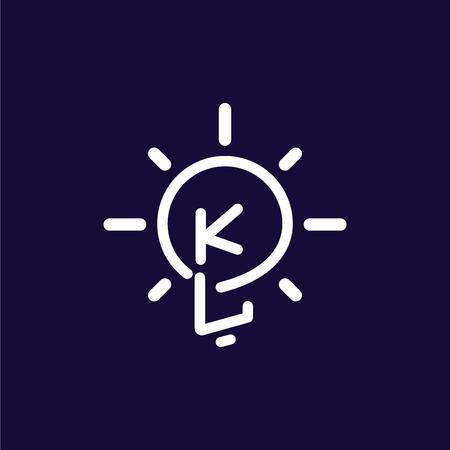 KL Initial Letter with creative bulb Logo vector Ilustração