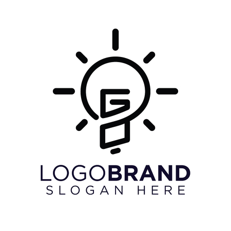 GO Initial Letter with creative bulb Logo vector