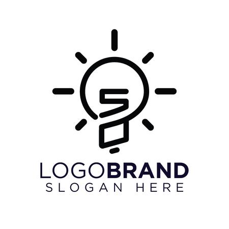 SO Initial Letter with creative bulb Logo vector Ilustração