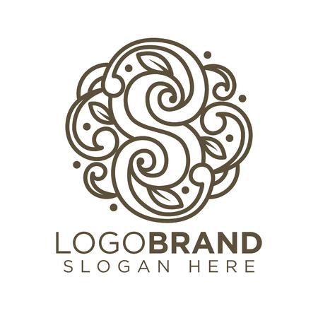 S Letter Floral logo vector