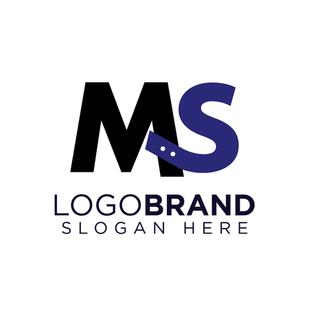 MS Initial letter connect logo vector Ilustração