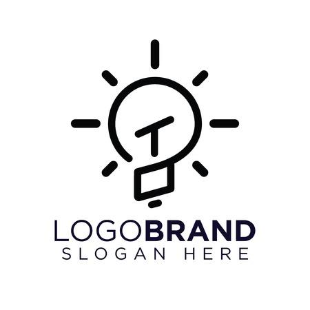 TO Initial Letter with creative bulb Logo vector Ilustração