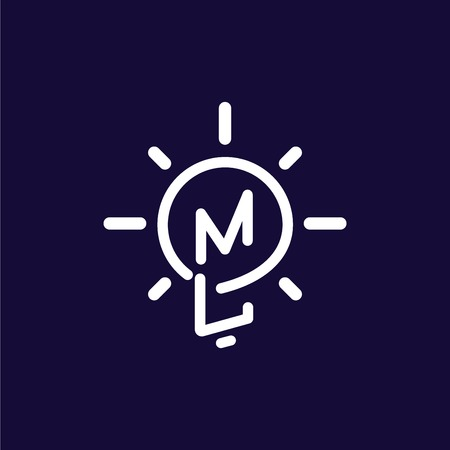 ML Initial Letter with creative bulb Logo vector