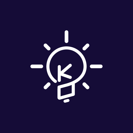 KO Initial Letter with creative bulb Logo vector