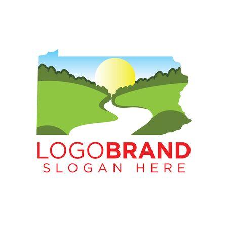 Kansas Landscape logo template Ilustração
