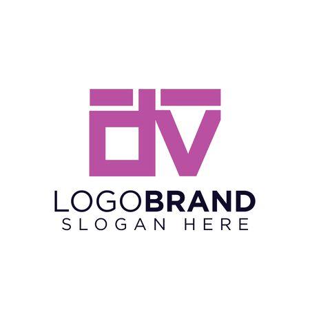 dv Initial Letter lowercase Linked logo Logó