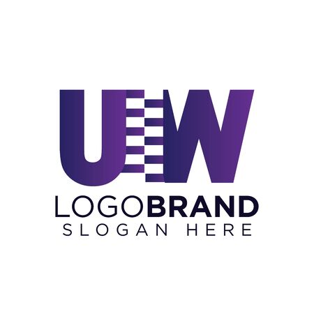 uw Initial letter with zipper logo vector template