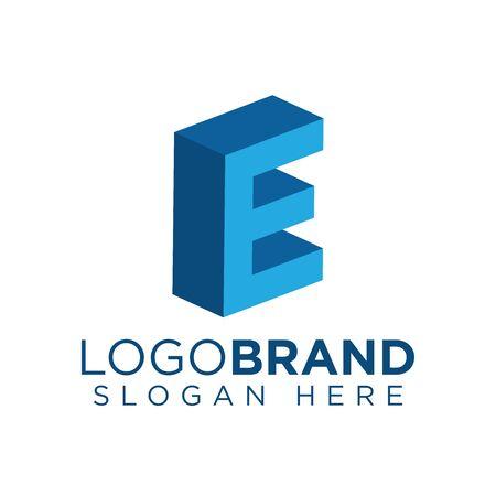 E Letter 3d Logo vector