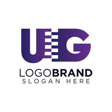 ug Initial letter with zipper logo vector template