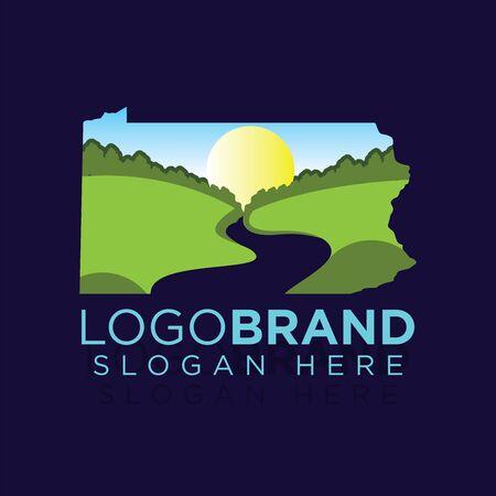 Plantilla de logotipo de paisaje de Kansas