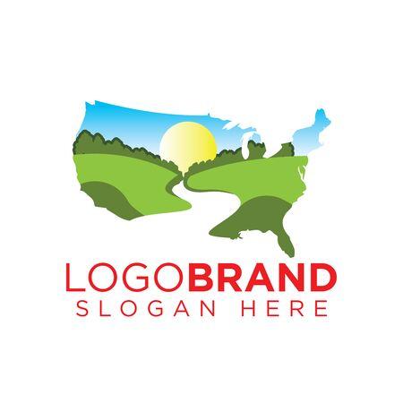 Plantilla de logotipo de paisaje americano