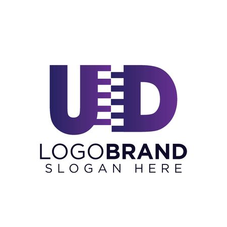 UD Initial letter with zipper logo vector template