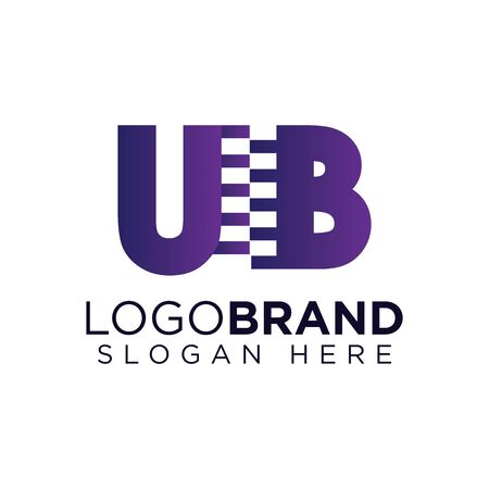 ub Initial letter with zipper logo vector template