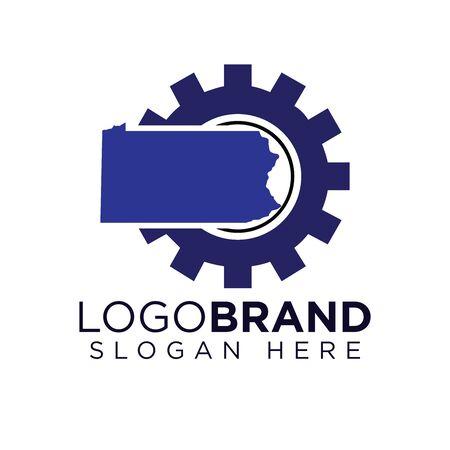 Modèle de logo de l'industrie du Kansas