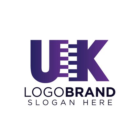 uk Initial letter with zipper logo vector template