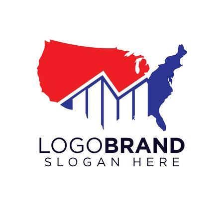 Modèle de logo de statistique de graphique américain Logo
