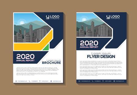 Conception de brochures, mise en page moderne de la couverture, rapport annuel, affiche, dépliant au format A4 avec des formes géométriques colorées pour la technologie, la science, le marché avec un fond clair Vecteurs