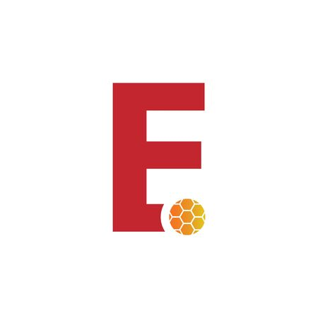 E Letter Foot ball logo vector