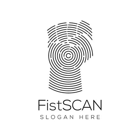 Fist Hand Scan Technology Logo vector 일러스트