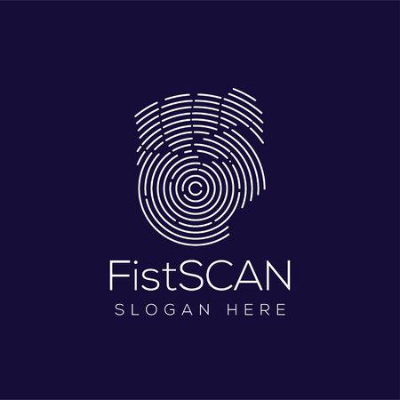 Fist Hand Scan Technology Logo vector Illustration