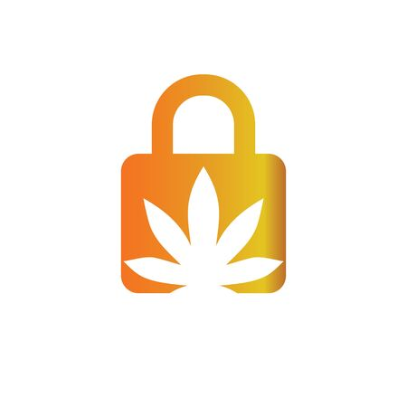 Key Secure marijuana logo vector template 일러스트