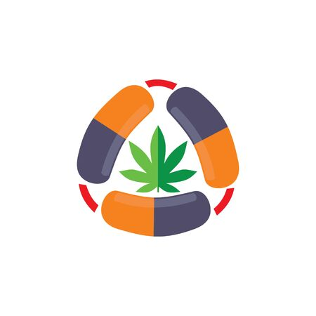 pill Drug marijuana logo vector 일러스트