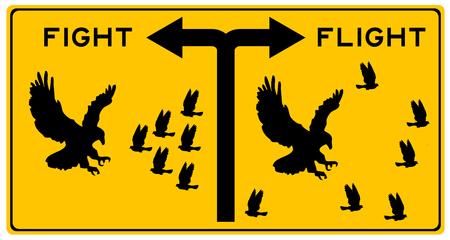 illustrazione di combattimento o fuga