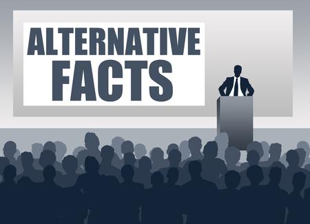 sharing alternative facts illustration
