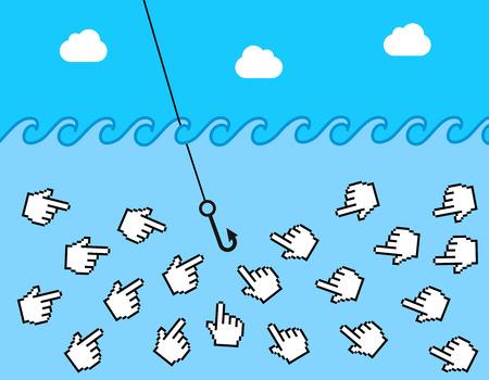 clickbait e illustrazione di phishing
