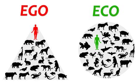 illustration de l'ego et de l'éco Banque d'images