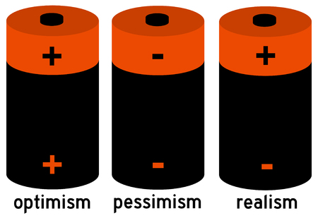 optimism pessimism realism illustration