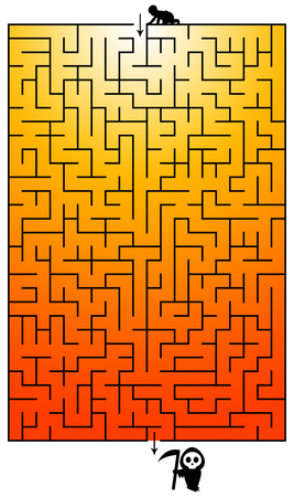 maze birth death illustration